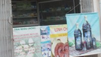 A pharmacy near the a cancer hospital in Hanoi with posters promoting cancer-curing food supplements made from lingzhi mushroom, noni and ginseng