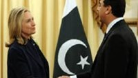 Prime Minister Yousuf Raza Gilani (R) shakes hands with US Secretary of State Hillary Clinton in Islamabad.
