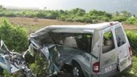The crushed remains of a 16-seat car carrying employees of Taiwan-owned Pouchen Company. Four people died and ten others were injured in the accident.