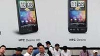 An advertisement showing the HTC smartphone is seen here in Taipei.