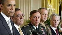 L-R: US President Barack Obama, Leon Panetta, currently the Director of the Central Intelligence Agency (CIA), General David Petraeus, General John Allen and Ryan Crocker attend a press conference in
