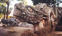 A dragon sculpture in the Thang Long Royal Citadel that has been declared a World Heritage site by UNESCO