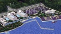 A model of Vietnam's first nuclear power plant, work on which will begin in 2014 and be completed in 2020, in the central province of Ninh Thuan