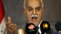 Iraqi Vice President Tareq al-Hashemi speaks during a press conference in the Kurdish regional capital Arbil.