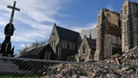 Earthquake damage to Christchurch Cathedral in the New Zealand South Island city is seen in September 2011.