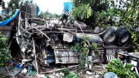 The completely destroyed truck after the accident which killed two, injured one and caused a series of subsequent crashes