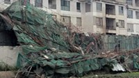 Collapsed scaffolds at the construction site of the Capital Land Building in Hanoi
