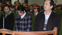 (L, R) Nguyen Thi Thanh Thuy, Nguyen Thuy Hang and Sam Duc Xuong in the dock Thursday at a trial involving statutory rape in the northern province of Ha Giang