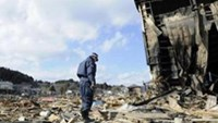 A police officer stands at an area destroyed in Kesennuma city, Miyagi Prefecture, March 18, 2011.