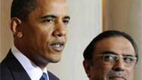 Pakistan's President Asif Ali Zardari looks on as U.S. President Barack Obama makes a statement to reporters at the White House in Washington, in this May 6, 2009 file photo.
