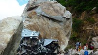A car carrying seven people crushed under a boulder falling from a moutain in the southern province of An Giang on Saturday. Six people were killed in the accident
