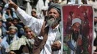Pakistani Islamists chant anti-US slogans holding a picture of Osama bin Laden during a protest outskirt Quetta.
