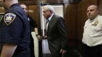 Former IMF head Dominique Strauss-Kahn (C) arrives for his bail hearing at State Supreme Court, in New York.