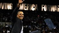 President Barack Obama attends a DNC Moving America Forward Rally at Cleveland State University in Ohio, October 31, 2010