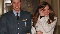 Prince William is pictured with his girlfriend Kate Middleton at the RAF Cranwell air base in Lincolnshire in 2008.