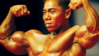 Pham Van Mach won the gold medal in the men's 55kg category at the Asian Bodybuilding & Fitness Championship in Guangzhou, China on Saturday