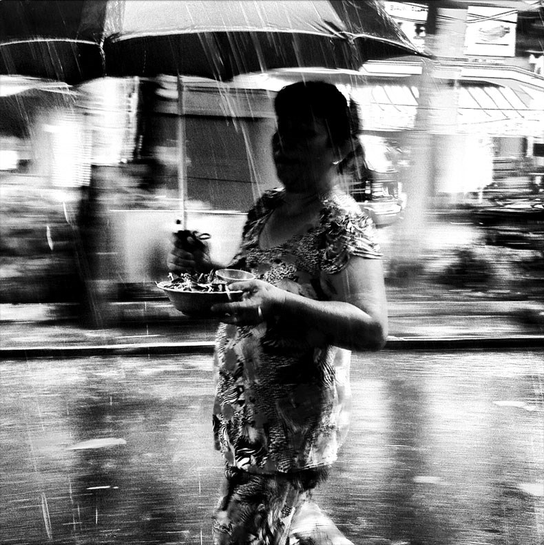 Rainy Saigon in black and white on Instagram