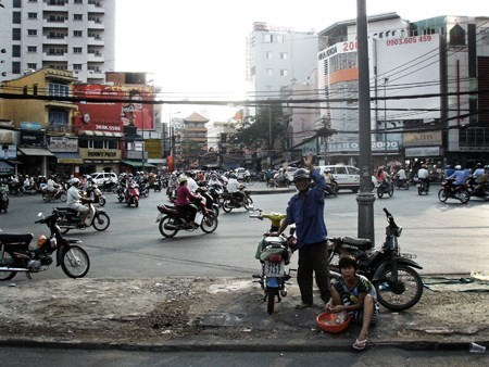 Nguyen Van Duong at his home and office - the traffic circle at the end of September 23 Park - six months before he died. Photo: Calvin Godfrey