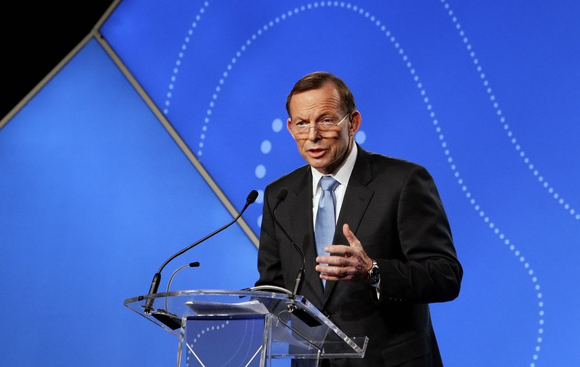 Australian Prime Minister Tony Abbott delivers his keynote speech during the B20 Summit in Sydney, July 17, 2014. Photo credit: Reuters