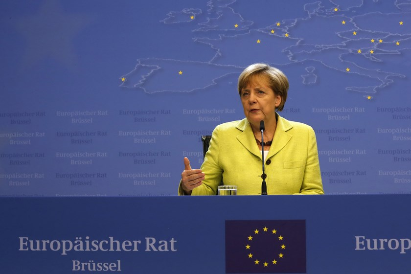 Germany's Chancellor Angela Merkel speaks at a news conference at the end of a European Union leaders summit in Brussels early July 17, 2014. Photo credit: Reuters