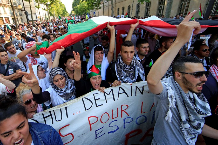 Pro-Palestinian protesters hold a giant Palestinian flag as they attend a demonstration, which has been authorized by the police, against violence in the Gaza strip, in Paris July 23, 2014. Photo credit: Reuters