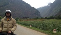 The author in a river valley on the way from Đồng Văn to Quản Bạ. Photo: Olof