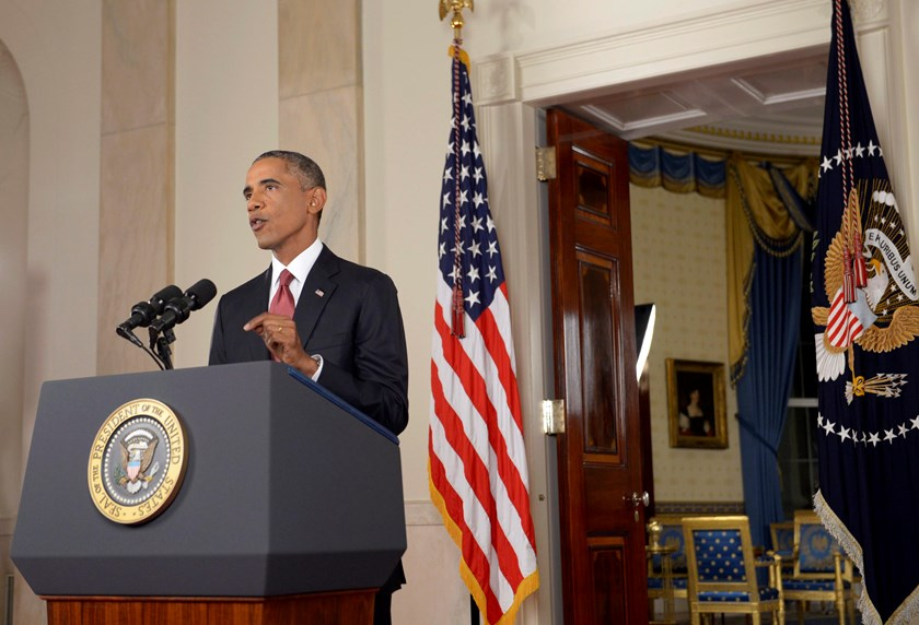 U.S. President Barack Obama delivers a live televised address to the nation on his plans for military action against the Islamic State, from the Cross Hall of the White House in Washington September 10, 2014. Photo credit: Reuters
