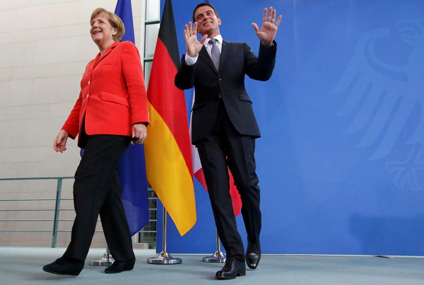 German Chancellor Angela Merkel and French Prime Minister Manuel Valls leave after a news conference following talks in Berlin September 22, 2014 . Photo credit: Reuters