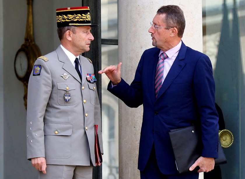 General Pierre de Villiers (L), French Army Chief of Staff, talks with Bernard Bajolet, head of France's DGSE external intelligence agency, after a war cabinet meeting at the Elysee Palace in Paris September 25, 2014. Photo credit: Reuters