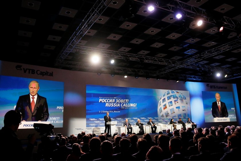 "Russia's President Vladimir Putin speaks during the VTB Capital ""Russia Calling!"" Investment Forum in Moscow, October 2, 2014. Photo credit: Reuters"