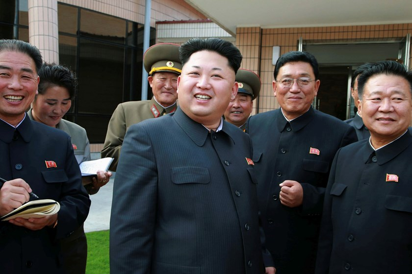 North Korea leader Kim Jong Un (C) provides field guidance at the newly completed Yonphung Scientists Rest Home, south of Pyongyang, in this undated photo released by North Korea's Korean Central News Agency (KCNA) in Pyongyang October 22, 2014. Photo cre