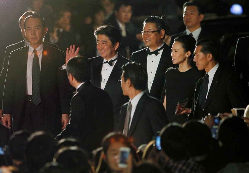 Japan's Prime Minister Shinzo Abe (C) attends the opening event of the Tokyo International Film Festival in Tokyo October 23, 2014. Photo credit: Reuters