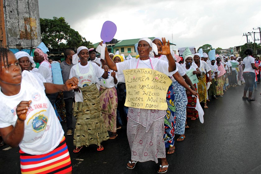 Evangelical Christians march for a spiritual solution to the Ebola virus epidemic in Monrovia October 25, 2014. Photo credit: Reuters