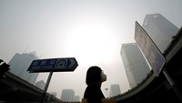 A woman wearing a mask makes her way on a street amid heavy haze and smog in Beijing, in this October 11, 2014 file picture. Photo credit: Reuters