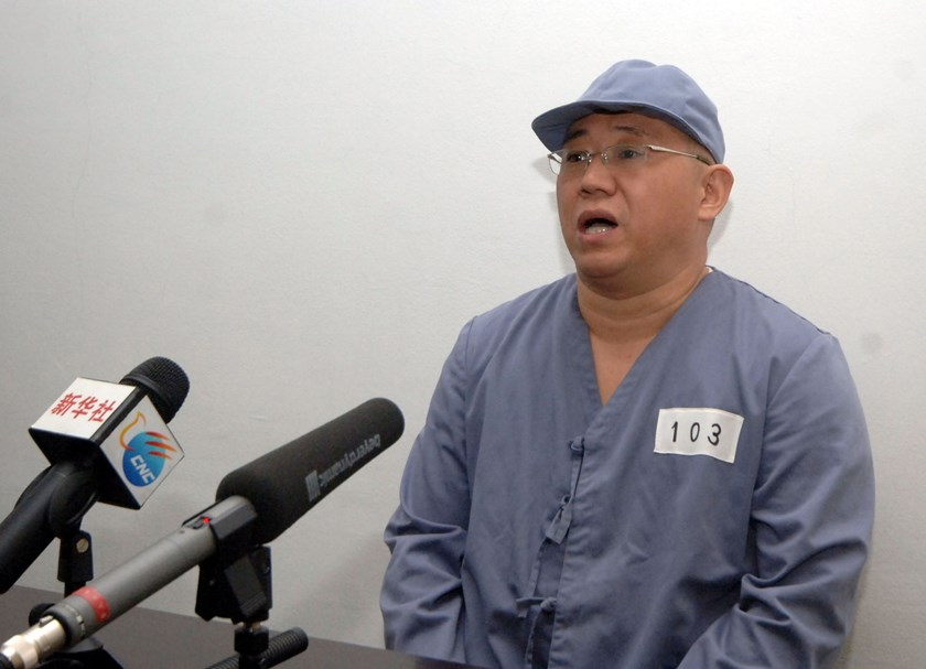 Kenneth Bae, a Korean-American Christian missionary who has been detained in North Korea for more than a year, appears before a limited number of media outlets in Pyongyang in this undated photo released by North Korea's Korean Central News Agency (KCNA)