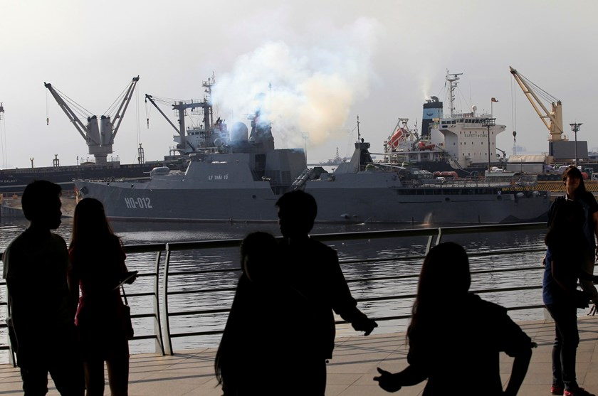 One of the two Vietnam Russian-built missile-guided frigates is seen docked at a bay in Manila in November. Vietnam last month showed off its two most powerful warships in the first-ever port call to the Philippines. Photo credit: Reuters