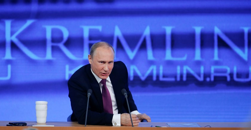 Russian President Vladimir Putin speaks during his annual end-of-year news conference in Moscow December 18, 2014. Photo credit: Reuters