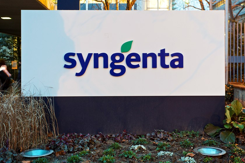 A logo sits on a sign outside Syngenta AG's headquarters in Basel, Switzerland, on Wednesday, Feb. 5, 2014. Photo credit: Bloomberg