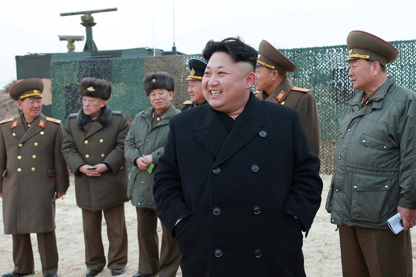 North Korean leader Kim Jong Un guides the multiple-rocket launching drill of women's sub-units under KPA Unit 851, in this undated photo released by North Korea's Korean Central News Agency (KCNA) in Pyongyang December 30, 2014. Photo credit: Reuters