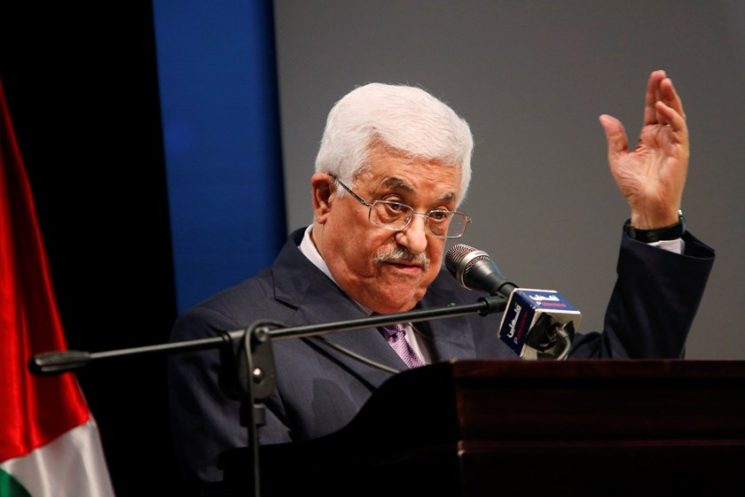 "Palestinian President Mahmoud Abbas gestures as he speaks during the opening ceremony of the ""Jerusalem in Memory"" exhibition in the West Bank city of Ramallah January 4, 2015. Photo credit: Reuters"
