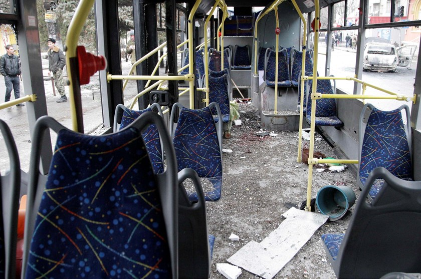An interior view shows a damaged trolleybus in Donetsk, January 22, 2015. Photo credit: Reuters