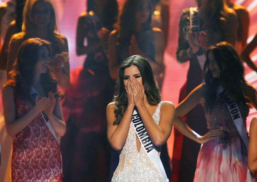 Miss Colombia Paulina Vega reacts just before being crowned the winner at the 63rd Annual Miss Universe Pageant in Miami, Florida, January 25, 2015. Photo credit: Reuters