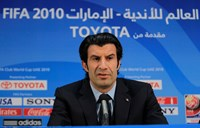 Former Portuguese international and Inter Milan player Luis Figo speaks during a news conference in Zayed sport city in Abu Dhabi in this December 17, 2010 file photo. Photo credit: Reuters