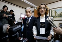 Junko Ishido, mother of Kenji Goto, a Japanese journalist who was held captive by Islamic State militants, speaks to reporters at her house in Tokyo February 1, 2015. Junko Ishido, mother of Kenji Goto, a Japanese journalist who was held captive by Islami