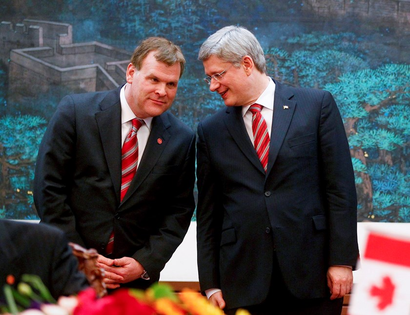 anada's Prime Minister Stephen Harper speaks with Canada's Foreign Minister John Baird (L) during a signing ceremony at the Great Hall of the People in Beijing in this February 8, 2012 file photo. Photo credit: Reuters