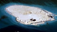 An alleged Chinese land reclamation project on what is internationally recognized as the Johnson Reef in the East Sea, the Vietnamese term for the South China Sea. Photo credit: AFP/JIJI