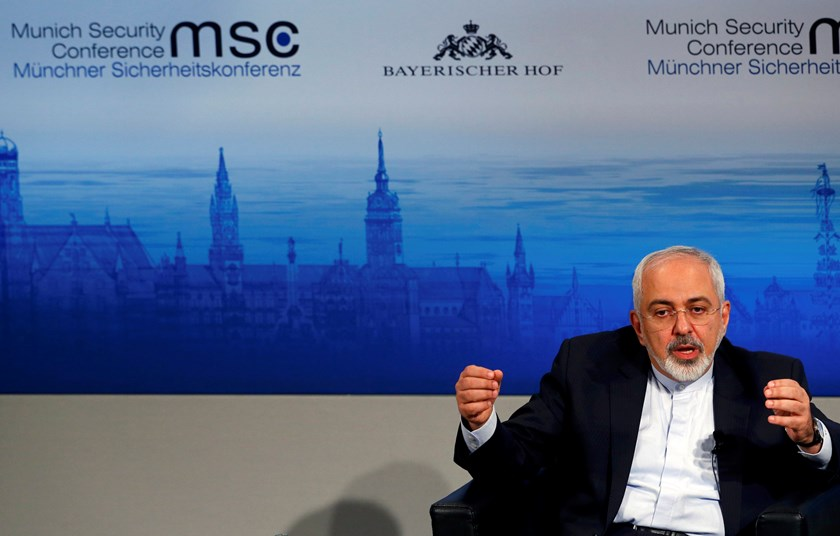 Iran's foreign minister Mohammad Javad Zarif gestures during an open debate at the 51st Munich Security Conference at the 'Bayerischer Hof' hotel in Munich February 8, 2015. Photo credit: Reuters