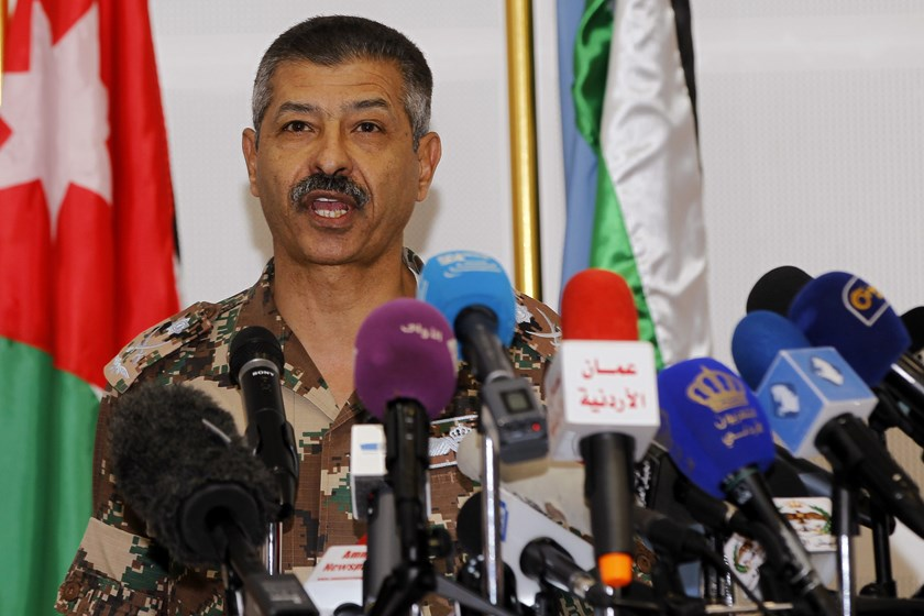 General Mansour al Jbour, head of the Jordanian airforce, speaks during a news conference at the King Abdullah II Special Operations Training Center (KASOTC) in Amman February 8, 2015. Photo credit: Reuters