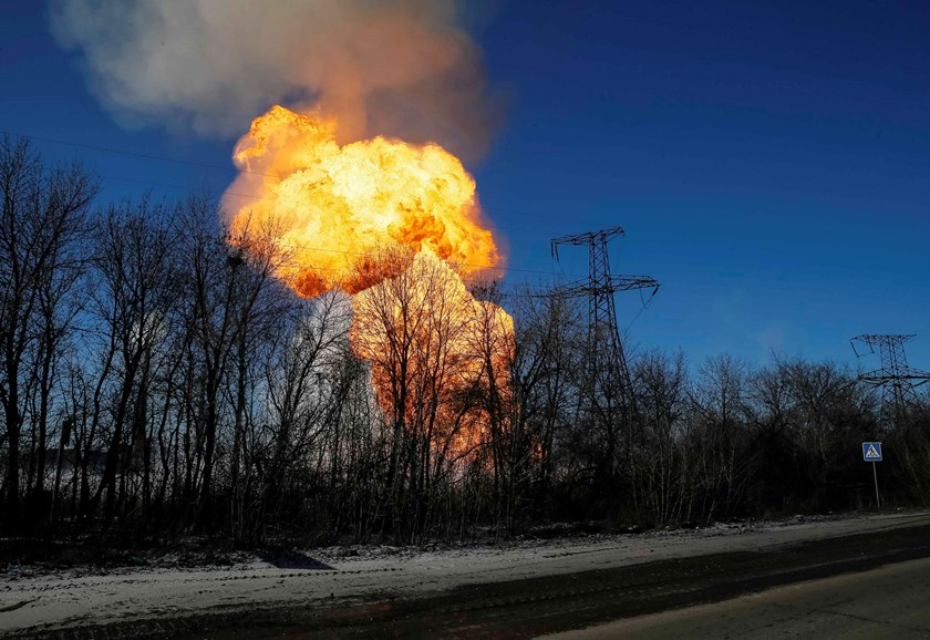 A view of an explosion after shelling is seen not far from Debaltseve February 17, 2015. Photo credit: Reuters