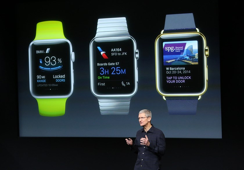Apple CEO Tim Cook stands in front of a screen displaying apps available for the Apple Watch at a presentation at Apple headquarters in Cupertino, California in this October 16, 2014, file photo. Photo credit: Reuters